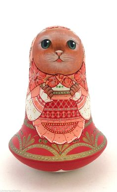 Cat Roly Poly Russian Hand Carved Hand Painted no Nesting DOLL in | eBay