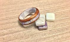 Lacewood Silky Oak and White Opal Inlay with White Pearlescent Epoxy Core Bentwood Ring, mens wedding ring, womans wedding ring