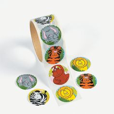 """Zoo Animal Stickers. Stick 'em anywhere! These 1 1/2"""" zoo animal stickers feature cute images of lions, zebras, gorillas, giraffes, tigers and elephants. Use these fun stickers to decorate notebooks, scrapbooks or stationery. Stuff them in goody bags for your jungle-themed party! (100 stickers per roll, shrink-wrapped) © OTC"""