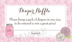 Mason Jar Pink  Damask Baby Shower Diaper by PartyPopInvites