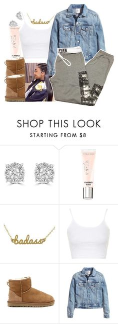 """""""8:58"""" by lookatimani ❤ liked on Polyvore featuring Effy Jewelry, Victoria's Secret, Kris Nations, Topshop, UGG Australia and H&M"""