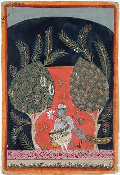 1650 Malwa India. (Chateri ? Ragini ?)  Blue skinned man seated in a bower at night with peacock.
