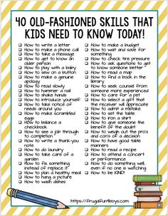 40 Old-Fashioned Skills that Kids Need to Know TODAY! - Frugal Fun For Boys and Girls 40 Old-Fashioned Skills that Kids Need to Know TODAY! - Timeless practical life skills that kids need to learn, many of which are being forgotten in our digital age. Education Positive, Kids Education, Parenting Advice, Kids And Parenting, Positive Parenting Solutions, Parenting Classes, Gentle Parenting, Parenting Quotes, Mind Maps