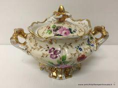 Oggettistica d`epoca - Porcellane e ceramiche Antica zuccheriera Vecchia Parigi - Zuccheriera francese dipinta a mano Immagine n°1