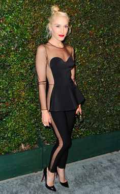 "Gwen | At the L.A. premiere of Paul McCartney's ""My Valentine"" music video, the rocker shows off her beautiful bod in a Stella McCartney black silk jumpsuit with sheer cutouts and Christian Louboutin heels."