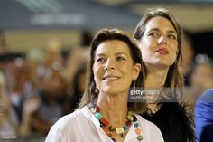 Charlotte Casiraghi (R) and Princess Caroline of Hanover (L) attend a ceremony during the 2017 edition of the Jumping International of Monaco horse jumping competition as part of the Global Champions Tour on June 24, 2017 in Monaco. / AFP PHOTO / VALERY HACHE (Photo credit should read VALERY HACHE/AFP/Getty Images)