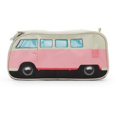 The Monster Factory Pink VW Van Toiletries Bag (€13) ❤ liked on Polyvore featuring beauty products, beauty accessories, bags & cases, bags, pink, travel toiletry case, toiletry kits, cosmetic purse, travel bag and travel kit