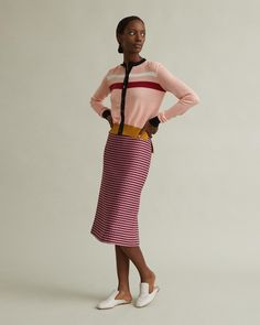 High-waisted pencil skirt in red, pink and black fine check pattern. Invisible back zip Back vent Mid-length Fitted and straight cut Cotton Viscose linen polyamide Model is ft 9 in and is wearing a size 40 High Waisted Pencil Skirt, Straight Cut, Apothecary, Mid Length, Marni, Check, Skirts, Model, Pattern