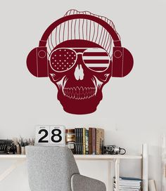 Vinyl Wall Decal American Skull Music Headphones Teen Room Stickers (ig3635)