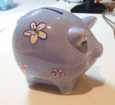 Charming Ceramic Piggy Bank Blue with White by MyOwnAssortment