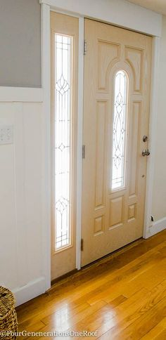How to add trim to a front door {before & after} by Four Generations One Roof