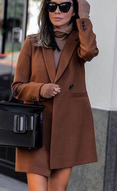 incredible fall outfit   brown coat + bag + sweater dress