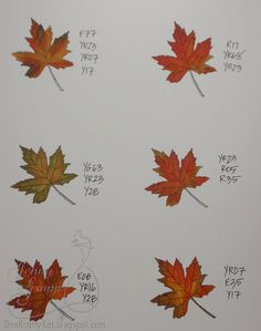 Copic marker recipes for coloring fall leaves.  Gorgeous fall colors!
