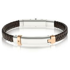 Stainless steel brown leather bracelet for men with rose gold plating and black cubic zirconia