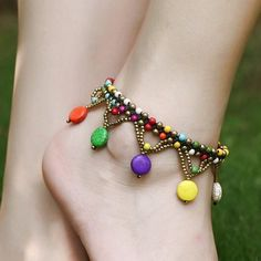 New Fashion Style Ethnic Beads Braided Copper Bell Anklet Bracelet Foot Anklets For Women Foot Jewelry Anklet Jewelry, Anklet Bracelet, Beaded Bracelets, Tassel Bracelet, Chain Jewelry, Beach Feet, Beach Foot Jewelry, Anklet Designs, Tatto Designs