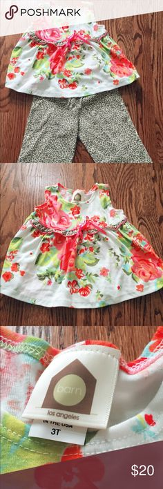 Zulily Girl's Outfit Floral top and cropped leopard pants. This outfit has never been worn & is in perfect condition, NWOT. No rips, no stains, no odors, no imperfections. Smoke and pet free home. Thank you for looking!!! zulilly Matching Sets