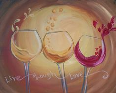 3 Wines and a Toast Painting