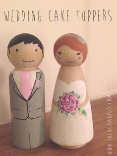 Bride and Groom peg doll set
