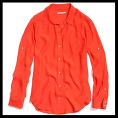 madewell // silk sheffield shirt • orange This perfectly hued charmeuse shirt is as roomy as it is refined. (Translation: It'll dress up jeans in an instant.) Boyfriend fit. 100% Silk. Worn once, excellent condition. Color is rust orange (picture 1). Other photos added to show fit. Madewell Tops Blouses