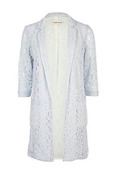 River Island Lace Duster Coat, $24, available at River Island.  Perfect cover up for a formal, could be dyed to match your gown.