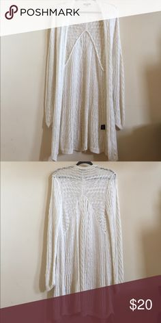Long white knit sweater Knee length sweater long sleeved, detailed knit Premise Sweaters Cardigans
