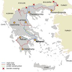 Information about Greece trains: International and domestic trains and rail links, thematic trains, route map and more. Greece Map, Greece Travel, Corfu, Crete, Train Route, Beautiful Sunset, Athens, Trains, Greece Vacation