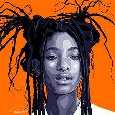Pop Art Portraits, Portrait Art, Desenho Pop Art, Posca Art, Willow Smith, Photo Vintage, Vector Portrait, Digital Portrait, Portrait Illustration