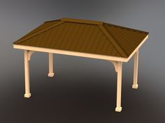 Step-by-step building plans for a Gazebo with Hip Tin Roof Custom sizes upon request! Metal Pergola, Diy Pergola, Pergola Kits, Pergola Ideas, Cheap Pergola, Pergola Shade, Backyard Ideas, Build A Playhouse, Wooden Playhouse
