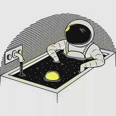 Space bath Unique Hand-crafted metal posters by Elia Colombo, by buying 1 displate, we will plant 10 trees. Astronaut Illustration, Illustration Art, Astronauts In Space, Man On The Moon, Illustrations And Posters, Cosmos, Wallpaper Backgrounds, Cool Art, Artsy