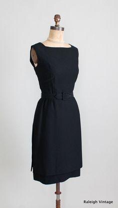 Vintage 1960s Black Crepe Cocktail Dress LBD via Etsy.
