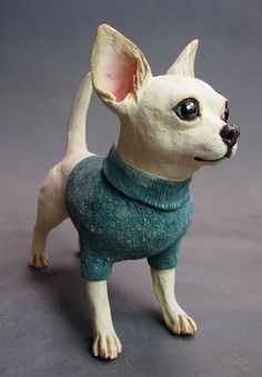 : Chihuahua in Woolly Jumper! Paper Mache Clay, Paper Mache Crafts, Paper Mache Sculpture, Dog Sculpture, Animal Sculptures, Clay Art, Ceramic Animals, Clay Animals, Dog Themed Crafts