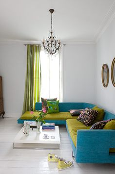 Lime green and turquoise sofa and cushions    Colour combo for main floor living room/kitchen?