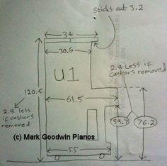 Yamaha U1 Pianodimensions