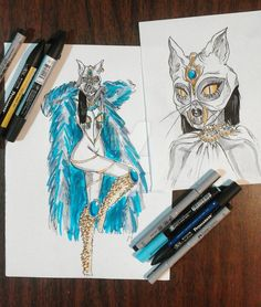 Inktober day 9-  Bastet by miss-eva-strange.deviantart.com on @DeviantArt