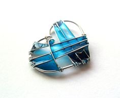 Wire Wrapped and Resin Pendant Turquoise by ThePurpleBalloon, €17.00