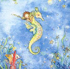 TINY MERMAID ON SEA HORSE IN OCEAN OF STARFISH,BUBBLES,BECKY KELLY BLANK CARD   eBay