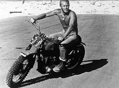 steve mcqueen motorbike | Tooling around on a bike that resembles his 'Great Escape' bike.