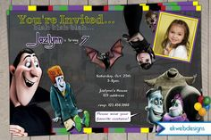 Let ekwebdesigns Personalize this cute Hotel Transylvania invitation! Perfect for a Halloween birthday or a fun Halloween party. Halloween Birthday Party Invitations, Holiday Invitations, Wedding Invitations, Roller Skating Party, Skate Party, Hotel Transylvania Birthday, Festa Frozen Fever, 8th Birthday, Birthday Ideas