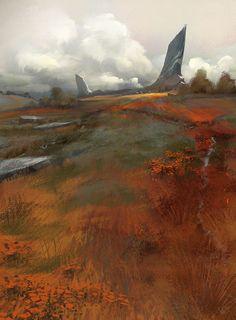 ArtStation - Landscape from head, Renaud Perochon Landscape Concept, Fantasy Landscape, Landscape Art, Landscape Paintings, Environment Concept Art, Environment Design, Fantasy Concept Art, Fantasy Art, Arte Sci Fi