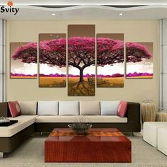 5 Panels (No Frame) purple tree Painting Canvas Wall Art Picture Home Decoration Living Room Canvas Print Modern Painting