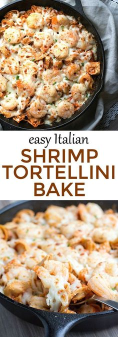 Dinner in under 30 minutes - Easy Italian Shrimp T. Dinner in under 30 minutes – Easy Italian Shrimp Tortellini Bake Fish Recipes, Seafood Recipes, Cooking Recipes, Baked Shrimp Recipes, Shrimp Dinner Recipes, Recipies, Baked Tortellini Recipes, Frozen Shrimp Recipes, Cooking Corn