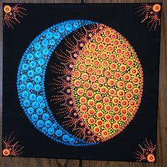 Moon & Sun in one Mandala Art Lesson, Mandala Artwork, Mandala Canvas, Mandala Drawing, Mandala Painting, Dot Painting Tools, Stone Art Painting, Rock Painting Patterns, Dot Art Painting