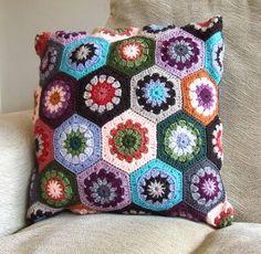Retro Hexagon Crochet Cushion Cover. $50.00, via Etsy.