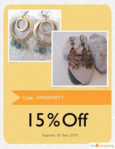 We are happy to announce 15% OFF our Entire Store. Coupon Code: XMASPARTY Min Purchase: 10.00 Expiry: 15-Dec-2015 Click here to view all products:  Click here to avail coupon: https://orangetwig.com/shops/AAAkB9K/campaigns/AABa3SW?cb=2015010&sn=CeliaElizabeth&ch=pin&crid=AABa3Sq