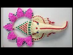 Easy Macrame Ganesha New Design Macrame Design, Macrame Art, Green Colors, Pink Color, Macrame Toran, Oil Painting Tips, Painting Art, Indian Paintings, Art Paintings