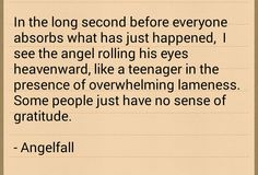 Angelfall~ Like a teenager in the presence of overwhelming lamenessXD