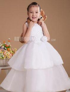 Simple robe cortège enfant satin organza robe sur mesuere [#ROBE207885] - robedumariage.com