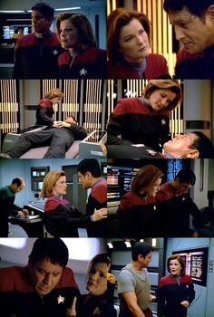 "Janeway and Chakotay The Fight. Honestly, despite Janeway's obvious concern for Chakotay, the best part of this episode is ""the crazy gene"" scene with Chakotay and the Doctor. Star Trek Gif, Star Trek Meme, Star Trek 2009, Scrubs Tv, Star Terk, Robert Beltran, Captain Janeway, Star Trek Captains, Kate Mulgrew"