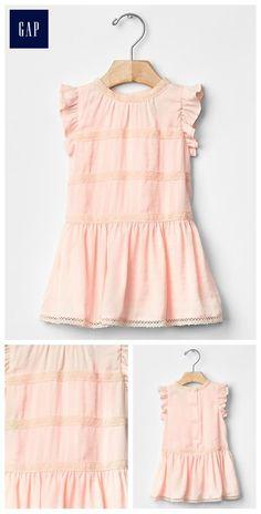 Lace-trim flutter dress. Baby Girl.
