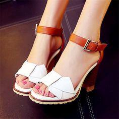 822323d02d0 Vogue Bowknot Women Ankle Strap Slingback High Block Heel Sandals Open Toe  Shoes  opentoeshoes